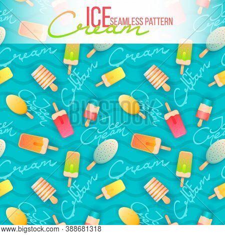 Ice Cream Seamless Pattern. Ice Cream Texture With Sweet Desserts. Vector Ice Cream Background