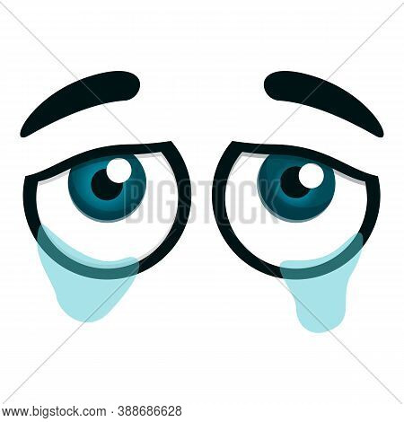 Crying Eyes Icon. Cartoon Of Crying Eyes Vector Icon For Web Design Isolated On White Background