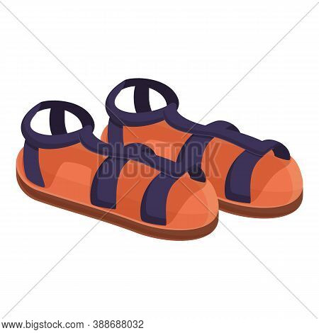 Rubber Sandals Icon. Cartoon Of Rubber Sandals Vector Icon For Web Design Isolated On White Backgrou