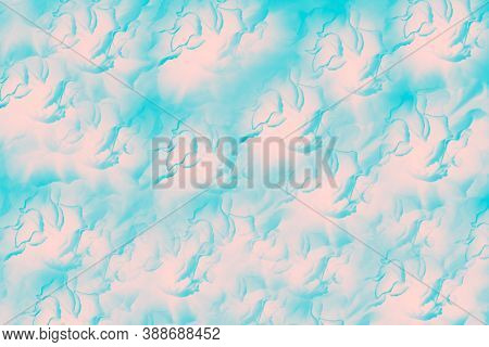Turquoise Pink Patchy Background With Abstract Face Pattern