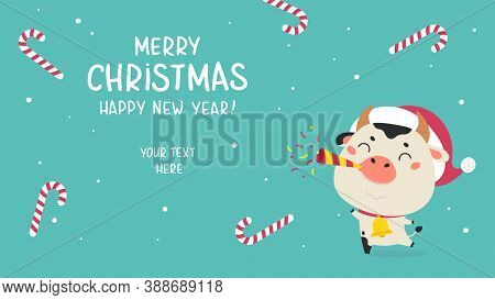 Christmas Sale Design Template.christmas Banner.xmas Cute Ox With Holiday Candies On The Background.
