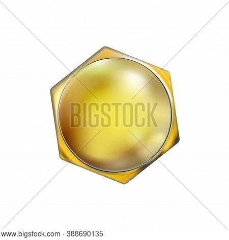 Glossy Polished Golden Realistic Bolt Head. Screw Cap Twisted In Surface, Isolated On White Backgrou