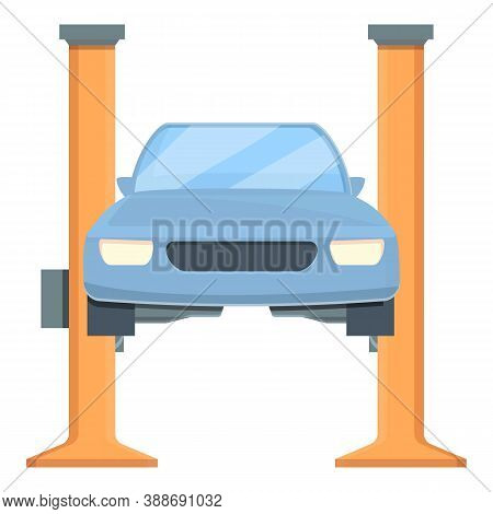 Electric Car Lift Icon. Cartoon Of Electric Car Lift Vector Icon For Web Design Isolated On White Ba