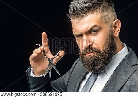 Beard Care. Mature Hipster With Beard. Bearded Man In Formal Business Suit. Brutal Male Hipster Cut