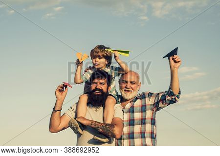 Happy Man Family Have Fun Together. Weekend Family Play. Fathers Day - Grandfather, Father And Son A