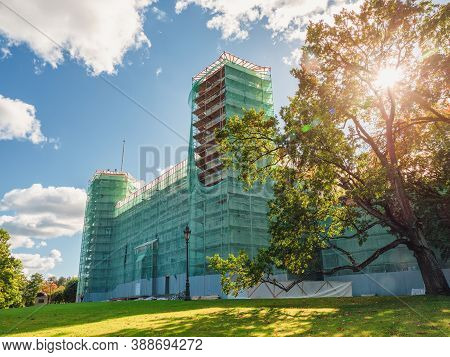 Renovation Of The Palace. The Grand Palace In The Scaffolding. Gatchina. Russia