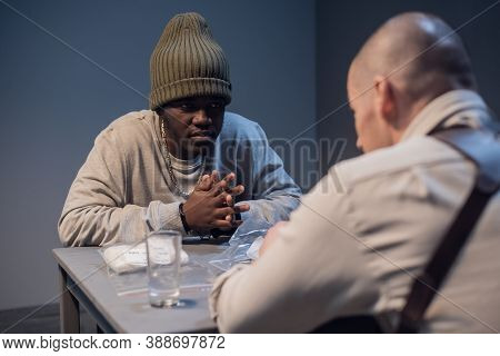 A Young Black Criminal Realizes What Was Done During The Interrogation At The Police Station.
