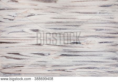 White Wood Planks And Floor. Empty Wooden Table Top With Copy Space. White Wood Texture Background,