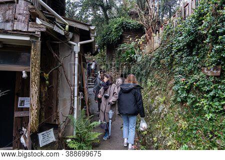 Hiroshima Prefecture, Japan - Dec 29 2019 : Neko-no-hosomichi Cat Alley In Onomichi City. Lots Of Re