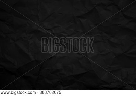 Black Clumped Paper Texture Background, Kraft Paper Horizontal With Unique Design Of Paper, Natural