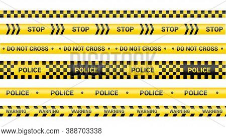 Police Tape, Crime Danger Line. Caution Police Lines Isolated. Warning And Barricade Tapes. Set Of Y
