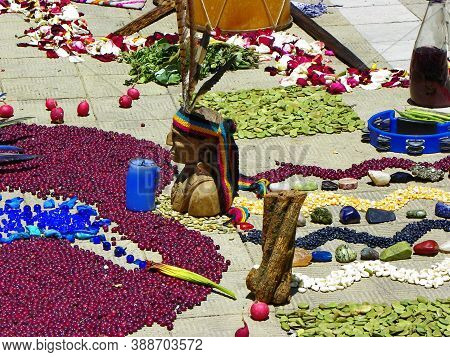 Cuenca, Ecuador - May 18, 2015: Details Of Chacana (chakana) Or Ceremony In Homage To Pachamama (mot