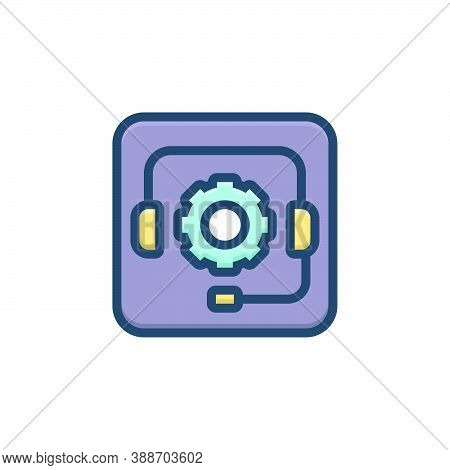 Color Illustration Icon For Telemarketing Support Customer Call Consultant Headphone Helpline