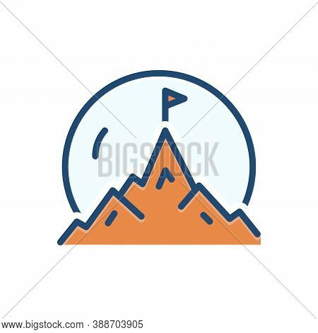 Color Illustration Icon For Mountaintop Hill Peak Flag Victory Achievement Finished