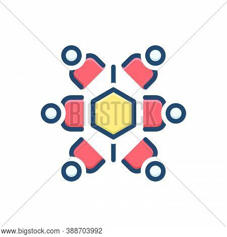 Color Illustration Icon For Mutuality Relationship Teamwork People Holding