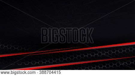 Abstract Black Background With A Gradient, A Gentle Haze Like Fog, Thin Stripes Of A Red Shade With
