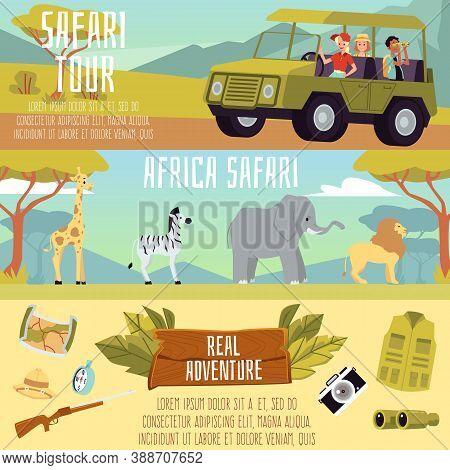 Africa Safari Tour Banner Set - Cartoon People On African Expedition