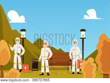 Exterminators Poisoning Insects In Park, Flat Cartoon Vector Illustration