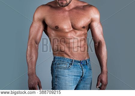 Man With Sexy Body. Muscular Torso Of Sexy Young Male Bodybuilder Power Athletic Man With Perfect Mu