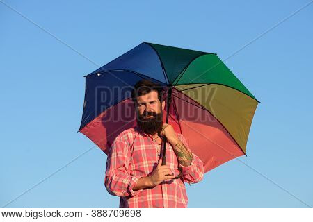 Shoulder Portrait Of Gay Man, Homosexual Male Holding Rainbow Umbrella, Colored In Rainbow Colors. L