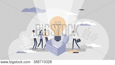 Idea Is Born As Creative Business Innovation Thought Tiny Persons Concept. Bright Innovation Develop