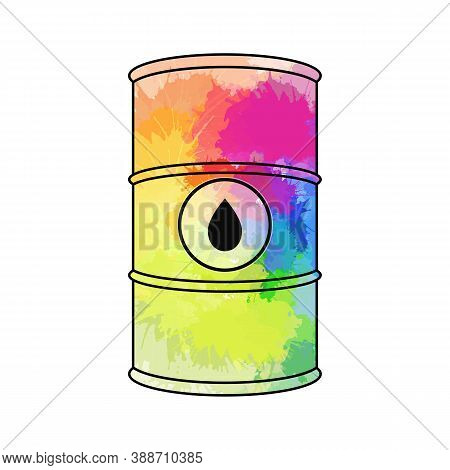 Vector Outline Illustration Of Oil Barrel With Rainbow Splashes And Black Drop. Cask Full Off Multic