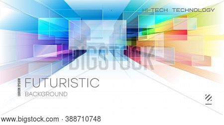 Abstract Colorful Tech Background. Bright Glowing Squares Extending From The Middle To The Rouge. Te