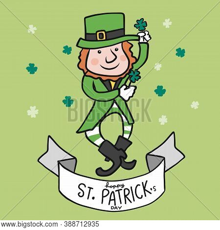 Happy St. Patrick's Day, Dancing Cartoon Vector Illustration