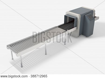 A Series Of Cardboard Boxes On A Rubber Conveyor Going Through A Cutoms X-ray Cargo Scanner On An Is