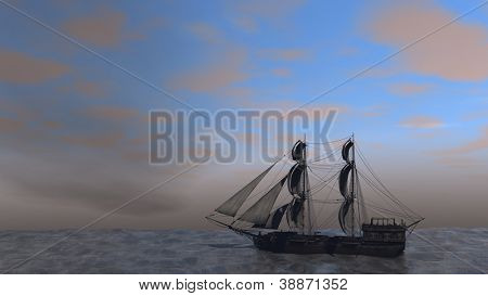 ship in the stormy ocean