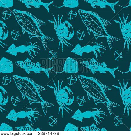 Seamless Pattern With Squid, Bream Fish, Stingray And King Crab