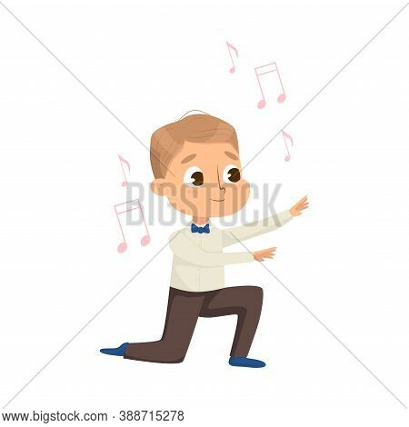 Little Boy Directing Or Conducting Musical Orchestra Vector Illustration
