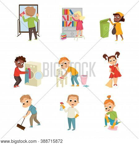 Energetic Children Doing Housecleaning Rubbing Mirror And Sweeping The Floor Vector Set