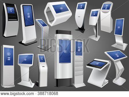 Set Of Promotional Interactive Information Kiosk, Advertising Display, Terminal Stand. Mock Up Templ