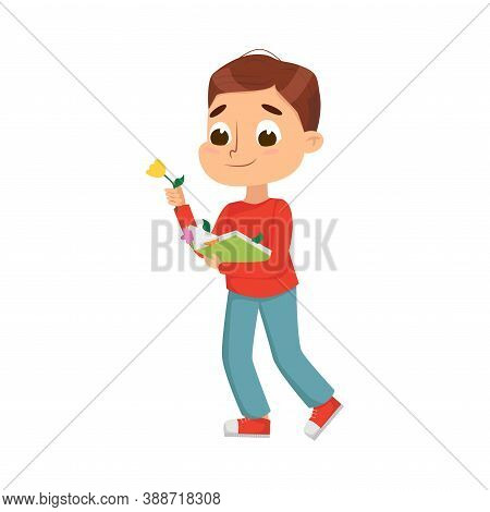 Curious Boy Holding Book With Herbarium Vector Illustration