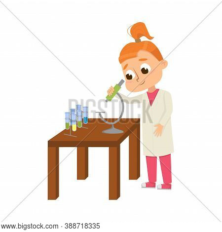 Curious Girl Examining Chemicals With Microscope Studying Chemistry Vector Illustration