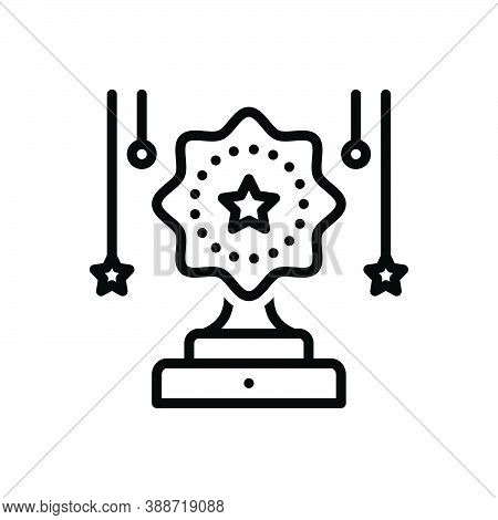 Black Line Icon For Contest Competition Challenge Celebration Achieve Achievement Award Championship