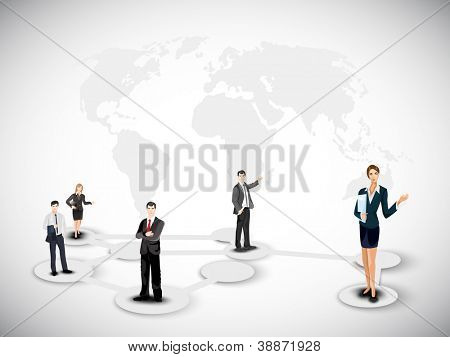 Business persons on abstract world map background. EPS 10. poster