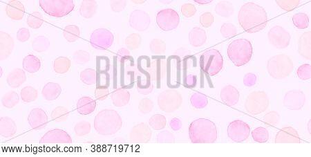 Pink Seamless Girly Illustration. Watercolor Romance Surface. Gentle Circular Card. Random Circle St