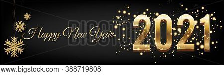 Golden Happy New Year 2021 Posters Horizontal With Burst Glitter On Black Colour Background - Happy