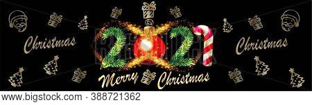 Merry Christmas And 2021 Happy New Year Horizontal Banner Vector Illustration - 2021 New Year And Ch