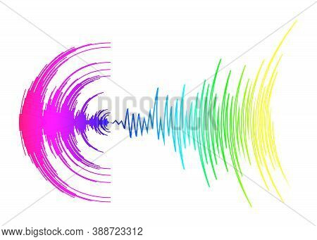 Poster With Neon Rainbow Sound Wave On White. Abstract Colorful Music Dynamic Waves Background. Vect