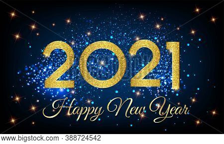 2021 Happy New Year Golden Number With Shining Background Illustration - Happy New Year 2021 Golden
