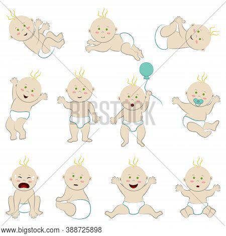 Set Of Vector Characters Of A White-skinned, Fair-haired Baby With Green Eyes. Large Collection Of N