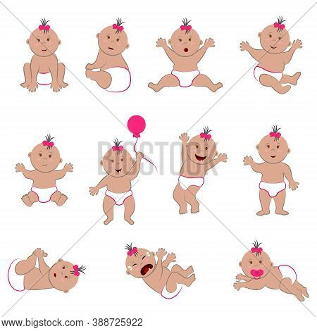 Vector Set Of Baby Character With Light Dark Skin, Brown Eyes And Gray (dark Blonde) Hair. Cliparts