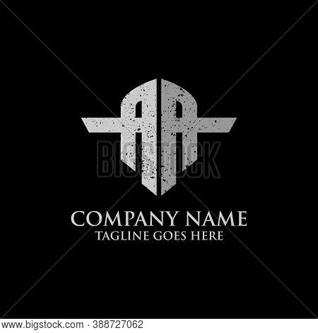 Rustic Initial Aa Logo Badge Design Illustration With Grunge Style Isolated