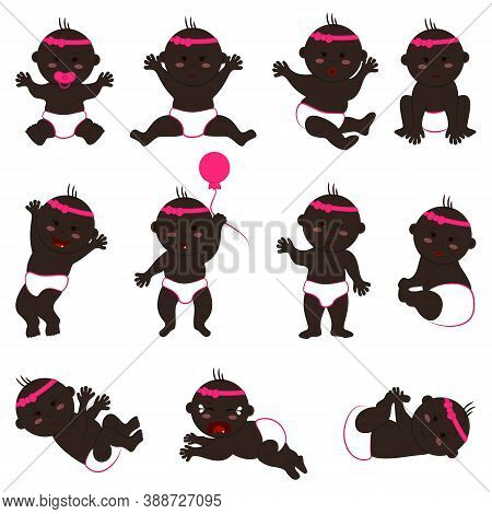 Vector Collection Of Movements And Moods Of Black Baby Girl. Set Of Naked Children In Diapers With A