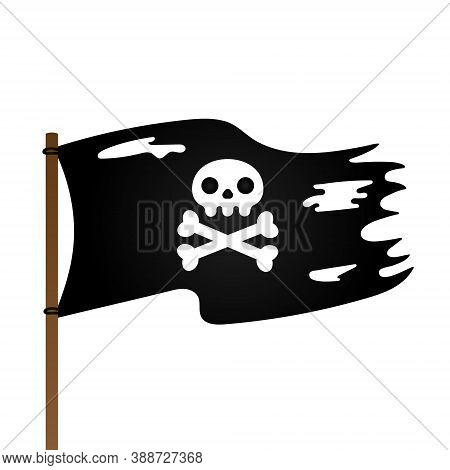 Pirate Flag With Jolly Roger Skull And Crossing Bones Flat Style Design Vector Illustration Isolated