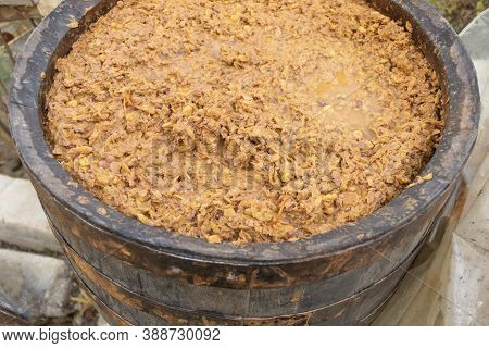 In The Process Of Making White Wine, Fermenting Wine In A Barrel. How To Make Wine