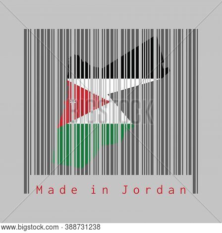 Barcode Set The Shape To Jordan Map Outline And The Color Of Jordan Flag On Dark Grey Barcode With G